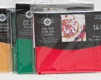Four Packages of 14 Count Aida Fabric, One Red, Two Green and One Gold  UNOPENED