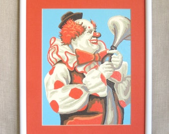 Vintage Clown Paint By Number, Red White and Blue, Hand Painted, Circus, Wall Decor, Horn, Parade, Kids Room, Happy Clowns, Handmade,Art