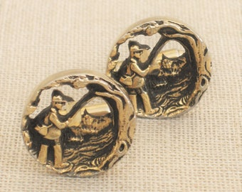 Vintage Fly Fishing Cuff Links, Fisherman, Outdoors, Pair, Men's Jewelry, Accessories, Sportsman, Nature Lover, Gold Tone, Round