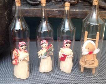 Dolls in a Bottle,stash in a bottle.Childs room.Handmade.glass boho chic home gift guide wedding glass childrens room decor