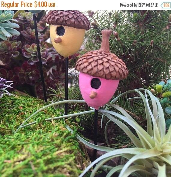 SALE Mini Acorn Birdhouse Pick, Pink Acorn Pick, Fairy Garden, Miniature Garden Accessory, Mini Bird House, Garden Decoration