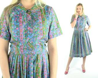 60s Floral Cotton Day Dress Short Sleeve Sundress Blue Pink Print Pleated Skirt Vintage 1960s Pinup Rockabilly Large L Medium M
