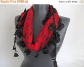 Red Cotton Scarf - women coton scarf -  fashion scarf - boho scarfs - Long Scarf - cotton scarf