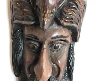Vintage Ethnic Man Animal Face Wood Mask Wall Hanging