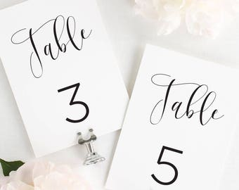 Flowing Calligraphy Table Numbers - 4x6""