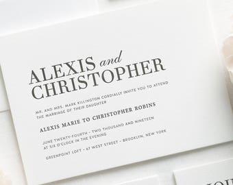 Urban Glamour Letterpress Wedding Invitations - Deposit