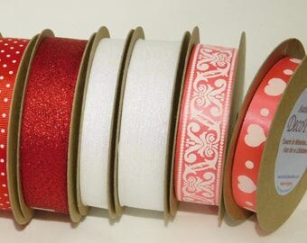 Red, Pink, Hearts Themed Ribbons: SET of 6 Luxury Ribbons, 6 feet each (total 18 ft), Made in England HANKS