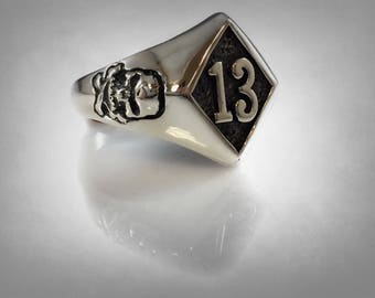 Lucky riding no 13 outlaws 1%er silver sterling 925  biker skull ring