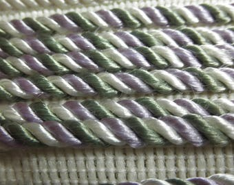 """Estate Notions --- 3   yds of Lavender Sage and Cream  Twist 1/8"""" SATINY   Lip Cord - has Sheen  - Unused."""