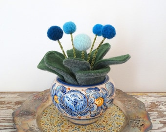 Felt Plant in Pot - Wool Plant - Knit Leaves - Desk, Office Plant - Pom pom Flowers - Peony - Pottery Planter with Blue, Yellow Flowers