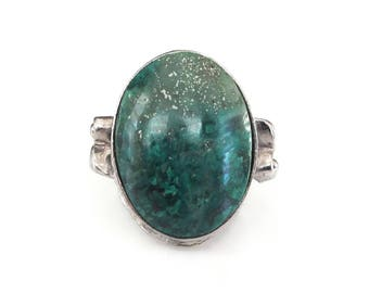 Clark and Coombs Sterling Turquoise Ring - Green Turquoise, Sterling Ring, Vintage Ring, Size 5