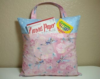 "Travel Pillowcase / 12"" Square /Child Toddler Pocket Pillowcase/PINK Roses and TINKER BELL/Pillowcase for Kids"