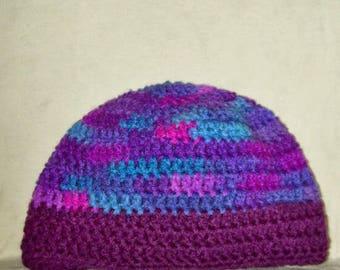 Skull Cap Shades Of Purple & Blue Crochet Winter Women's Hat Crochet Toque