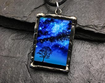 I have loved the stars too fondly... Glass and pewter pendant with quote on back