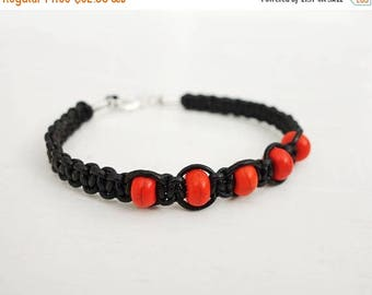 Summer Sale Braided leather bracelet orange howlite stones black cord bracelet leather macrame bracelet for men for women