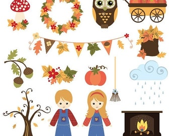 50%OFF Fall and Thanksgiving clipart set, fall harvest clipart, acorn clipart, fall pennant banners clipart, commercial use, instant downloa