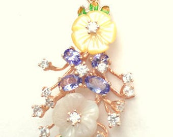 Vintage Sterling Silver/Rose Gold Pendent, Mother of Pearl, Carved Flowers, Tanzanite and CZ Accents, Estate Jewelry