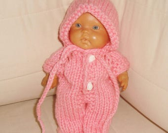 11 Inch Doll Clothes Hand Knit Doll Overalls with Doll Hat in Pink, Brithdays gifts for girls gift, 11inch doll clothes