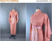 SALE - 1930s Vintage Silk Kimono Robe / 30s Wedding Dressing Gown Lingerie / Downton Abbey / Art Deco / Pink Peach 9001542