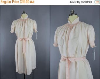 FLASH SALE - Vintage Silk Nightgown / Silk Lingerie / Maternity Hospital Gown / Asian Mandarin Style / Pastel Pink