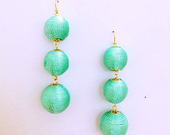 Seafoam Cord wrapped Les Bonbon bon bon Gum Drop Earrings 3 Ball Hanging