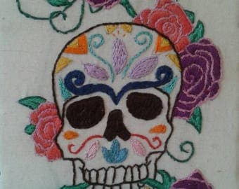 sugarskull and roses embroidery