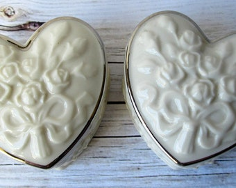 VINTAGE - Lenox China - Wedding Promises Collection - Jewelry Heart-Shaped Trinket Boxes - Collectibles