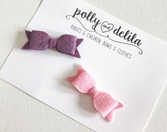 newborn or baby stick on bows-mint and pink