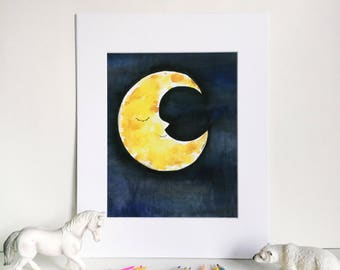 Sleepy Moon Watercolor Print