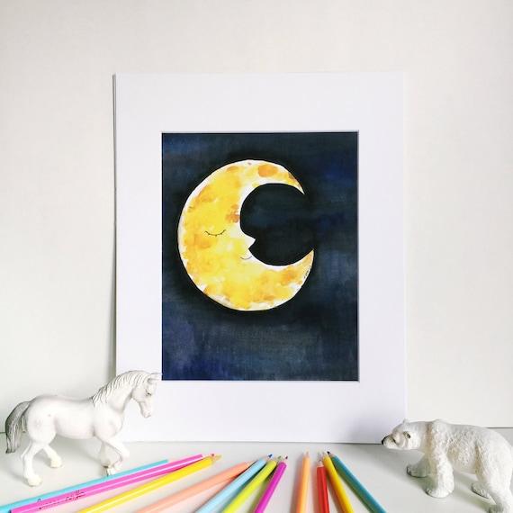Sleepy Moon Watercolor Print