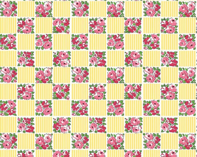 Dainty Darling Fabric by Lindsay Wilkes from The Cottage Mama for Riley Blake Designs and Penny Rose Fabrics - Yellow Check