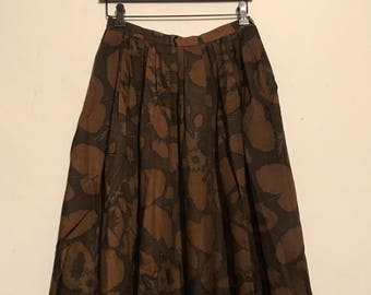 Black and Brown Full Floral Skirt