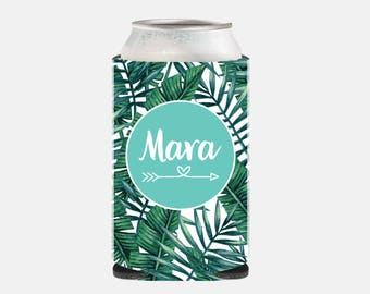 Bridesmaid Gift Maid of Honor Gift Can Cooler Wedding Favors for Guests Beach Wedding Party Gifts Bachelorette Party Favors Tropical Leaf YZ