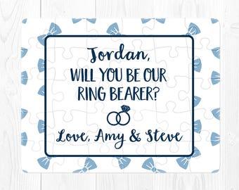 Ring Bearer Puzzle Ring Bearer Proposal Gift Will You be My Ring Bearer Puzzle Proposal Will You Be Our Ring Bearer Puzzle Proposal Blue