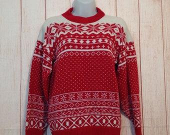 Vintage 80s American Pride Fair Isle Nordic Snowflake Print Sweater Ladies Small