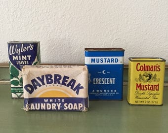 vintage 1950s spice and laundry soap tin lot