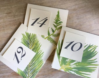 Summer Greenery Table Number Tents - for Events, Weddings, Parties, Showers, Graduations.