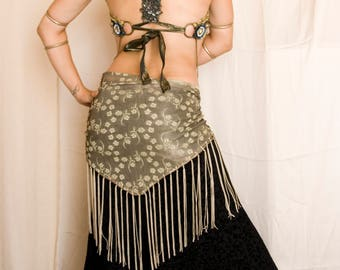 Sandy Flowers - Beige Tribal Fusion Fringe Hip Scarf - Greige tribal belly dance hip shawl, ATS