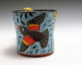 Ceramic Red Wing Black Bird Coffee Mug - Pottery Bird Mug - Majolica Mug - Coffee Cup - 12 ounce oz Coffee Mug - Tea Cup - Gift for Her Him