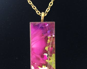 Spring, Spring Necklace, Spring Pendant, HandPainted Necklace, Domino Necklace, floral Jewelry,One of a kind, Wearable Art