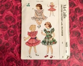 50's Vintage Mccalls Girls Dress Pattern