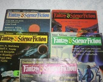 Five 5 Vintage Fantasy & Science Fiction Magazines Sci Fi Fantasy Science Fiction, 1980