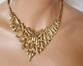 Vintage Bib Necklace, Vintage Rhinestone Necklace, Bib Necklace,  Chunky Rhinestone Necklace, Large vintage necklace, antique necklace gold