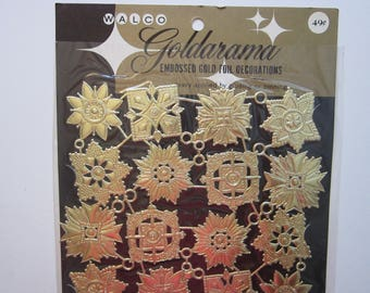 24 vintage Goldarama embossed gold foil decorations - paper Dresden - gold paper lace, embossed gold paper decoupage decorations, foil scrap