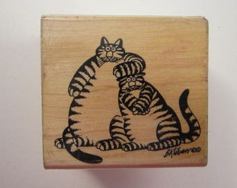 htf vintage rubber stamp - Kliban cats - What a Pair - Rubberstampede - used rubber stamp