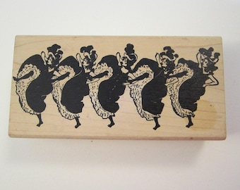 vintage rubber stamp - CAN CAN DANCERS - Tin Can Mail art stamp