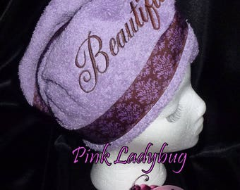 Hair Wash Turban - Dark Lavender Embroidered with Beautiful- Ready to Ship