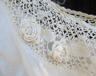 Antique Victorian Ivory Crochet Corset Cover/Camisole Blouse