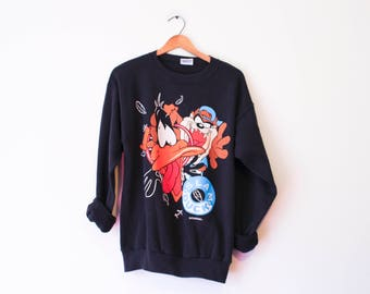 Vintage Black Looney Tunes Basketball Taz Daffy Slam Duck Sweatshirt