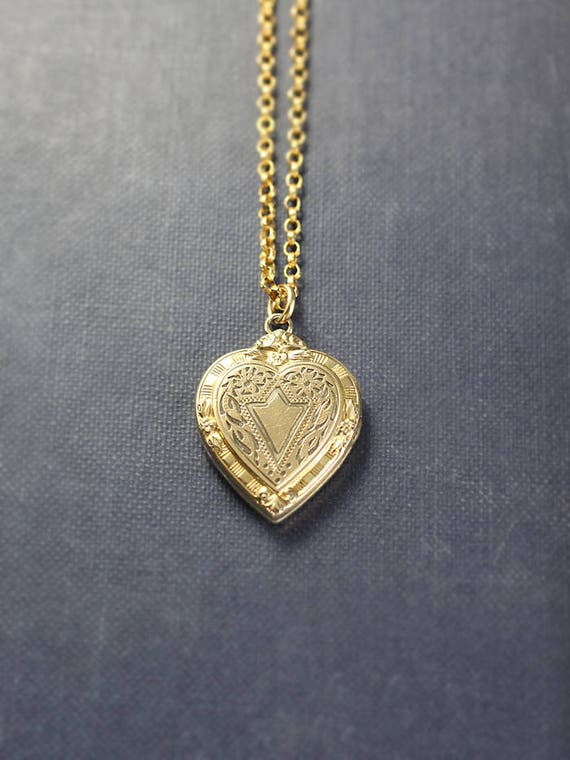 Small Gold Heart Locket Necklace, Classic Hayward Vintage Pendant with Original Bail & Chain - American Classic
